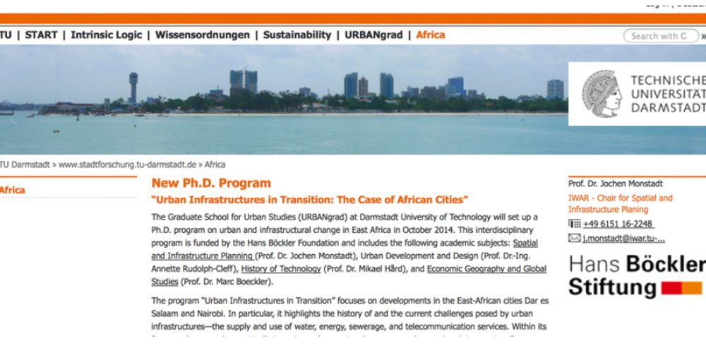 """PostDoc Position in """"Urban Infrastructures in Transition: The Case of African Cities"""""""